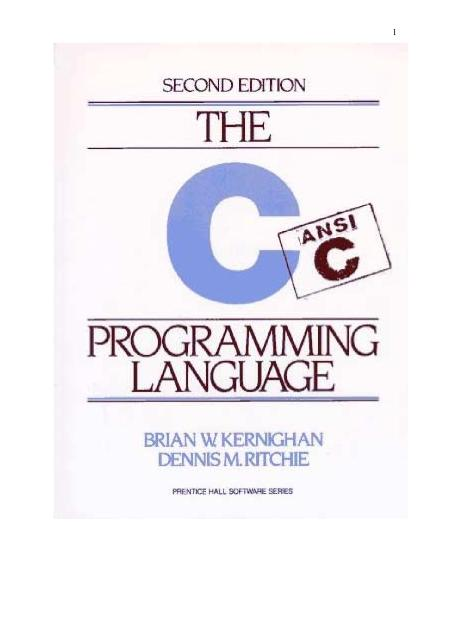 Kernighan Ritchie The C Programming Language 2nd Edition