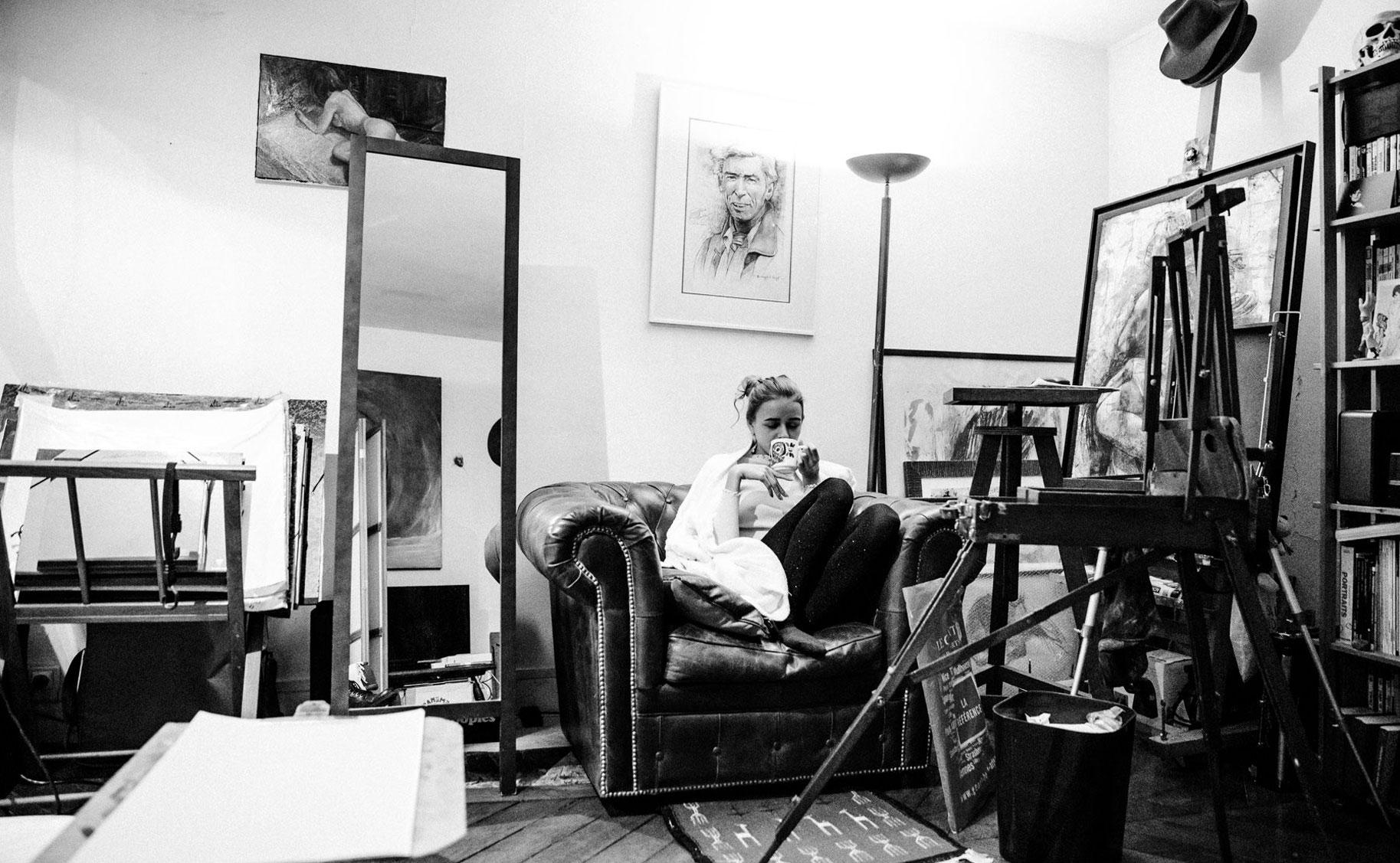 Яна Нагорняк в мастерской парижского художника / фото 07