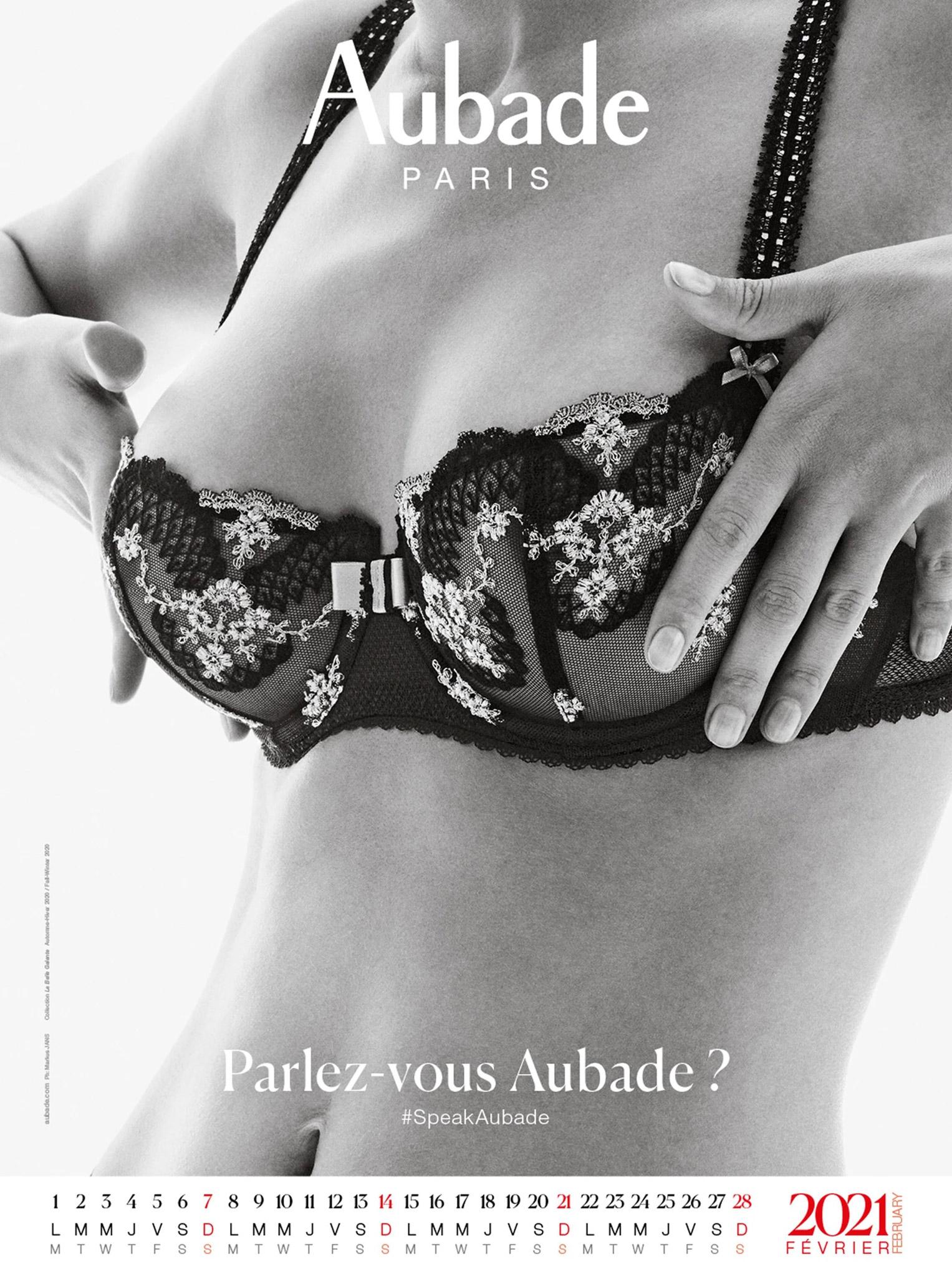 календарь французского производителя нижнего белья Aubade на 2021 год / февраль