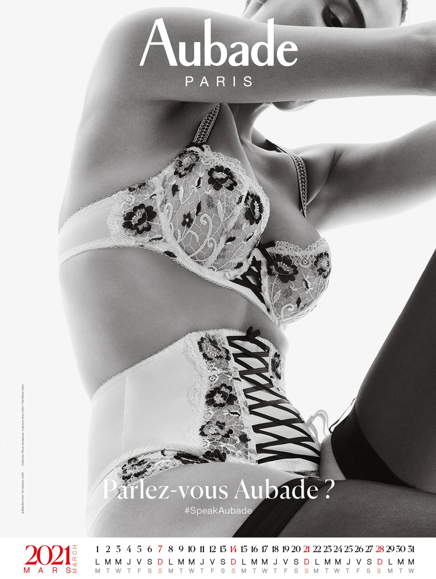 календарь французского производителя нижнего белья Aubade на 2021 год / март