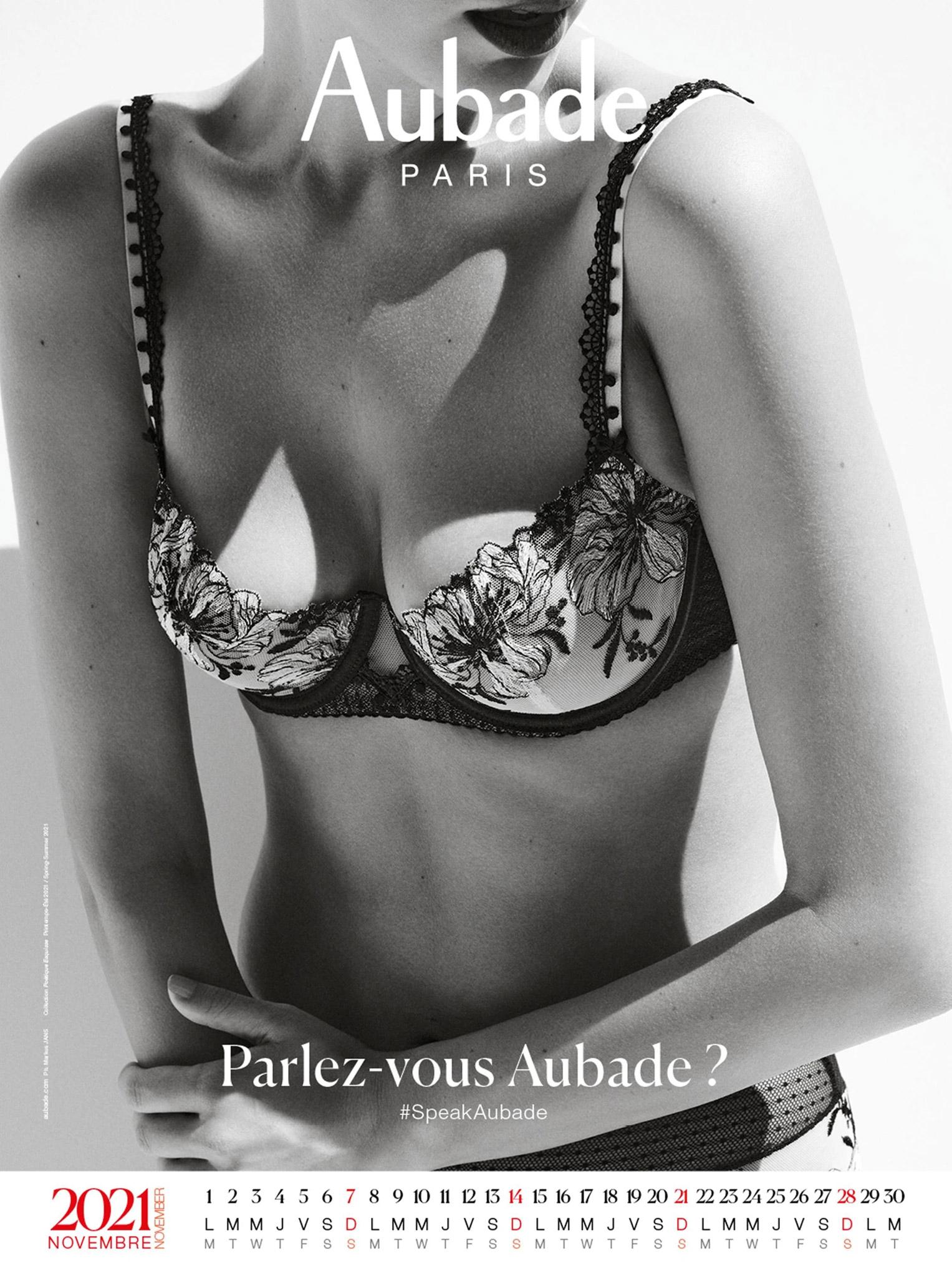 календарь французского производителя нижнего белья Aubade на 2021 год / ноябрь