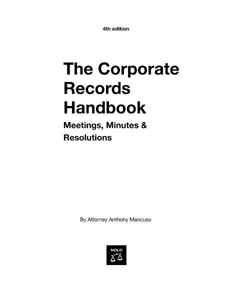Corporate Records Handbook Meetings Minutes Resolutions