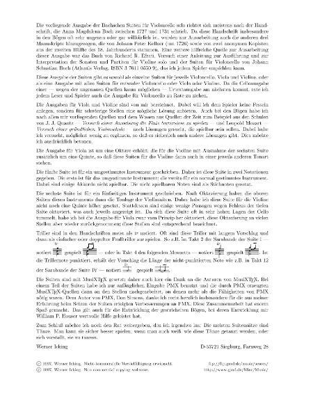 Bach Johann Sebastian Six Suites A Violoncello Solo 1997