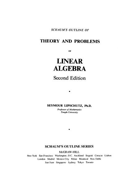 Schaums Outlines Theory And Problems Of Linear Algebra 1991