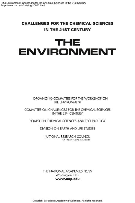 The Environment Challenges For The Chemical Sciences In The 21st Century