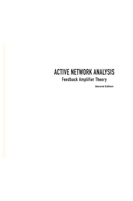 Active NetWork Analysis Feedback Amplifier Theory 2nd Edition