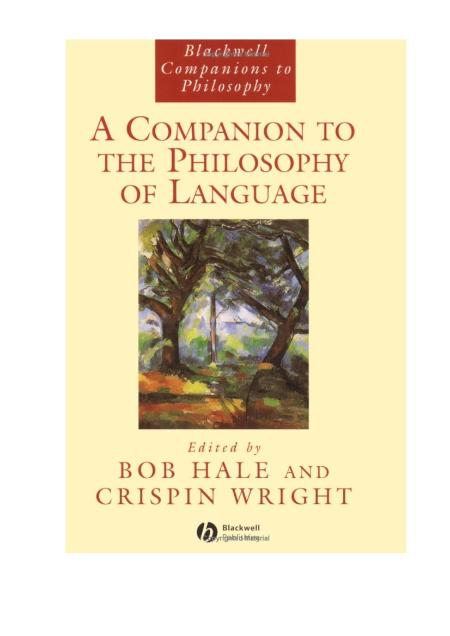 Blackwell A Companion To The Philosophy Of Language