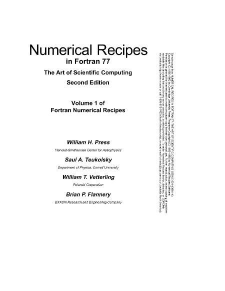 Numerical Recipes In Fortran 77 Press Teukolsky Vetterling Flannery 2e Vol1